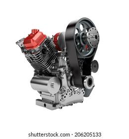 Assembled V-twin engine of large powerful motorbike isolated on white
