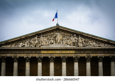Assemblee Nationale facade in cloudy day in Paris