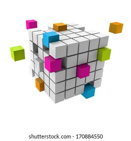 assembling of a cubic structure with colorful pieces