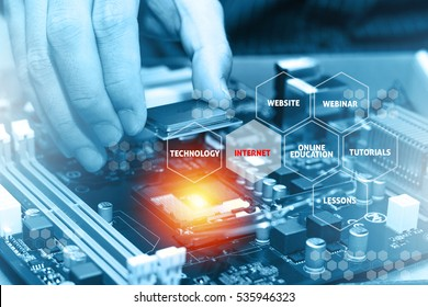 Assembling high performance personal computer. Online Education Concept
