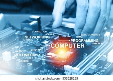Assembling high performance personal computer. Computer Concept