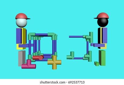 Assembly of construction workers 3D