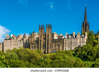 The Assembly Hall,a neo-gothic building situated East of Edinburgh Castle.With twin turrets forking above the skyline, visible as you climb up the Mound, Scotland, UK, United Kingdom, Europe