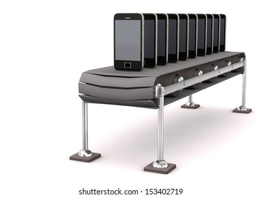 Assembly line with smartphones on the white background.