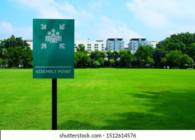 Assembly Point Sign with Green Grass Field Background.