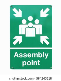 Assembly point sign isolated on a white background.