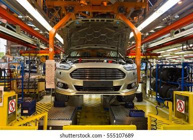 Assembly shop at a car factory