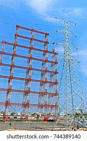Assembly of steel tower for load test in station test, India