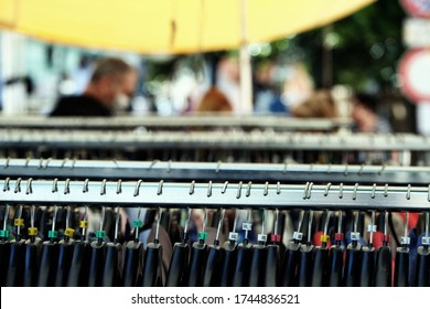 Assemini / Italy - May 29 2020: clothes hangers in a market stall