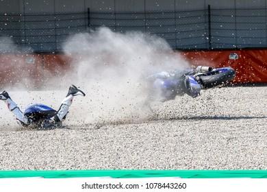 ASSEN, DUTSCH - April, 22. 2018: FIM World Superbike Championship, WSBK, Very Hard Crash of Danny de Boer
