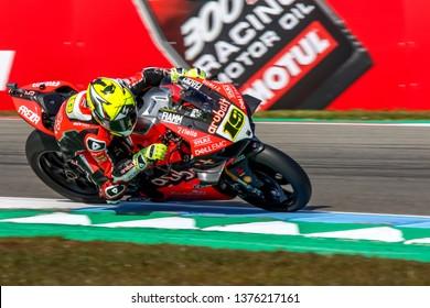 ASSEN NETHERLANDS - APRIL 12-14, 2019: World Superbike Race Championship WSBK-Motul Dutch Round, 19, Alvaro Bautista, Ducati