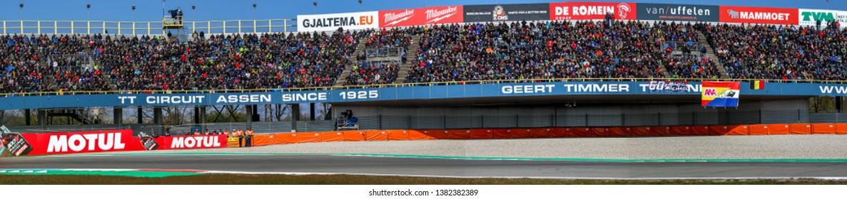 ASSEN NETHERLANDS - APRIL 12-14, 2019: World Superbike Race Championship WSBK-Motul Dutch Round, Panorama View TT Circuit Assen ;ain Tribun