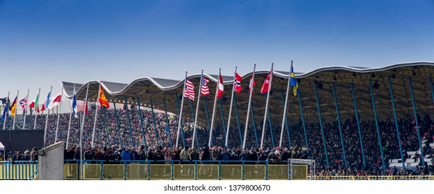 ASSEN NETHERLANDS - APRIL 13.+14, 2019: The Cathedral' of motorcycle racing as it is known colloquially, TT circuit Assen in the Netherlands during the World Superbike championship.