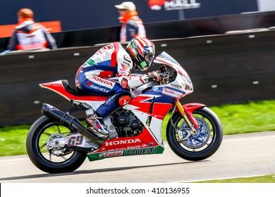 ASSEN NETHERLANDS - APRIL 16.+17, 2016: World Superbike Race  M. Van der Mark, 60, Honda World Superbike, Honda CBR1000RR SP