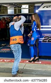 ASSEN NETHERLANDS - APRIL 29.+30, 2017: World Superbike Race WSBK - Grid Girl with Photographer