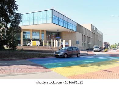 Assen, The Netherlands: August 15, 2020: Cinema Theater de Nieuwe Kolk Assen and colored zebra crossing, The Netherlands