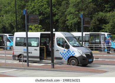 Assen, Netherlands- June 9, 2021: Taxi Doorenbos at train station Assen, Netherlands