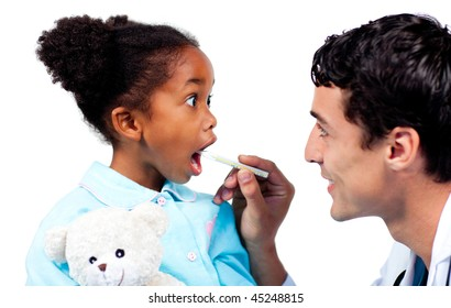 Assertive doctor taking his patient's temperature isolated on a white background