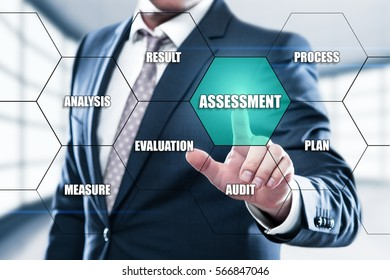 Assessment Analysis Evaluation Measure concept on the hexagons and transparent honeycomb structure presentation screen. Man pressing button on display with word in modern office