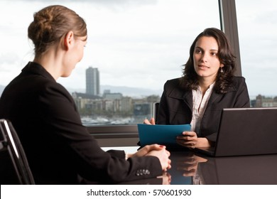 Assessment of an female employee in office