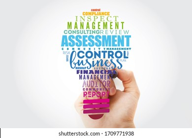 ASSESSMENT light bulb word cloud collage, business concept background