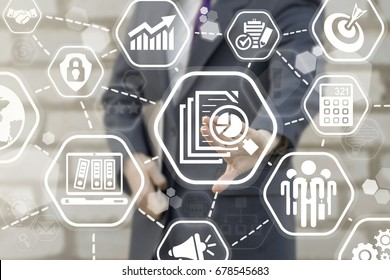 Assessment Marketing Calculation Estimate Evaluate Measurement Business concept. Man pressing files magnifying glass pie chart button on virtual touch screen.