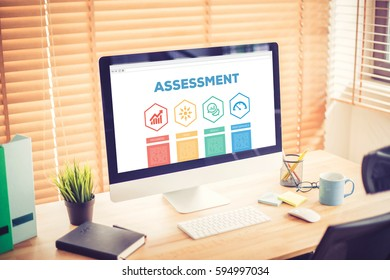 Assessment Progress Goal Result Performance Word With Icons