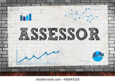 ASSESSOR on brick wall and poster concept