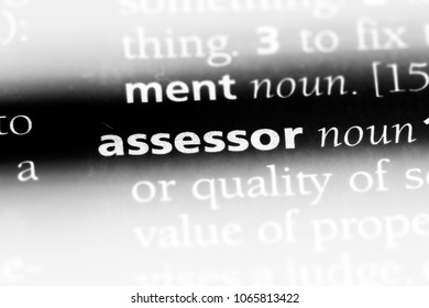 assessor word in a dictionary. assessor concept.