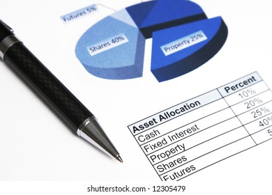 Asset Allocation, Business Investment, Table And Chart, Focus Pen Top