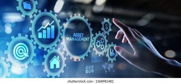 Asset management Business technology internet concept button on virtual screen.