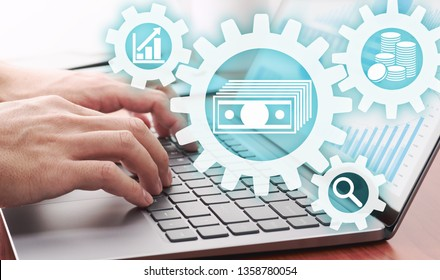 Asset management concept. Businessman using laptop for analyzing financial data.Gears and money icons.