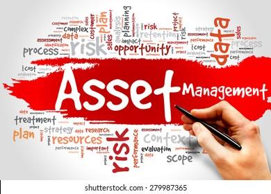 Asset Management word cloud, business concept
