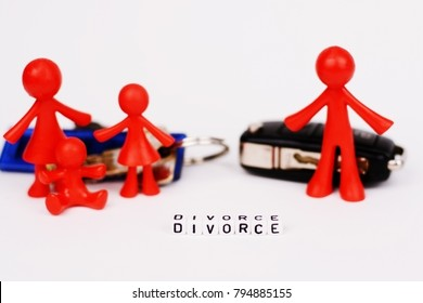 Assets division and kids custody after divorce, with plastic miniature and keys on white background