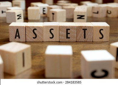 assets word written on wood block