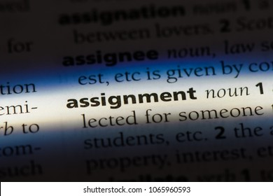 assignment word in a dictionary. assignment concept.
