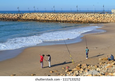 ASSILAH, MOROCCO - NOVEMBER 10, 2015: Angling by the ocean in Assilah