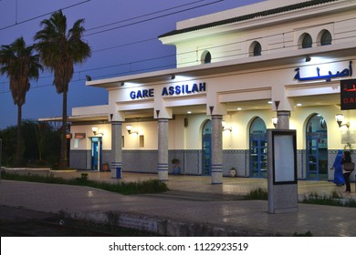 ASSILAH, MOROCCO - NOVEMBER 10, 2015: Assilah train station in the evening