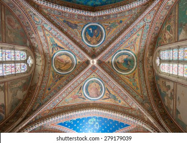 Assisi April 2015: frescoes in the Basilica of St. Francis after the restoration of the damage of the earthquake of 1997, Unesco heritage, Umbria, Italy