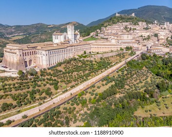 Assisi, a hill town in central Italy's Umbria region, aerial view.