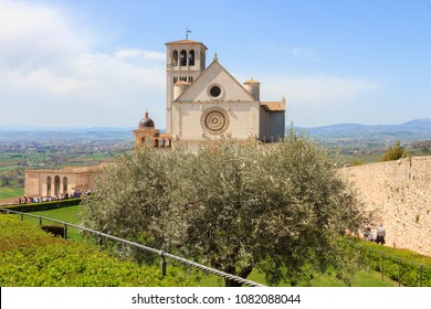 Assisi, Italy - April 08, 2018: Panoramic view of the Basilica of Saint Francis of Assisi, Italy