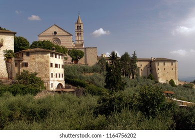 Assisi, Italy - August 12 2018:  Assisi Church of St. Chiara