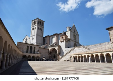 Assisi, Italy - August 2018. Basilica San Francesco di Assisi (Cathedral of Saint Francis from Assisi) with the Portico of the lower Church.