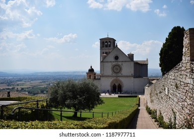Assisi, Italy - August 2018. Basilica San Francesco di Assisi - Cathedral of Saint Francis from Assisi
