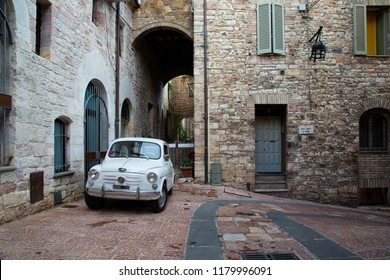 Assisi, Italy - August 22, 2018: Vintage Fiat 600 in a street of Assisi