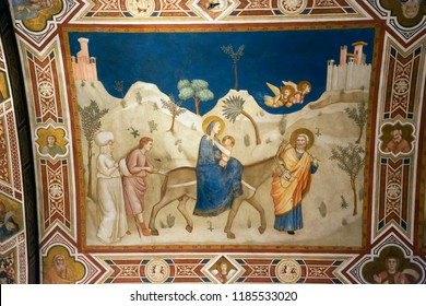Assisi, Italy - August 22, 2018: Flight into Egypt by Giotto in Basilica of St.Francis