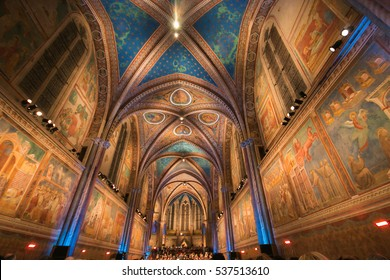 ASSISI, ITALY - DECEMBER 16, 2016: The traditional christmas concert in the Basilica of Saint Francis in Assisi