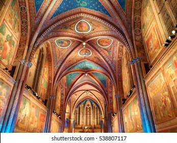 ASSISI, ITALY - DECEMBER 16, 2016: Famous christmas concert on the Saint Francis Basilica of Assisi