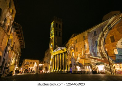 ASSISI, ITALY - DECEMBER 21, 2018: Video Mapping Christmas Show in the main square of Assisi at winter time, Umbria, Italy