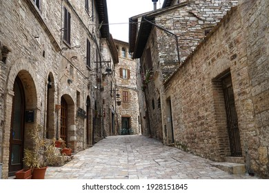 Assisi, Italy - June 10 2020: Historic medieval town made from stone, famous tourist landmark